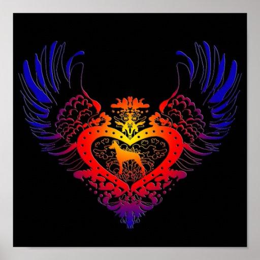 Doberman Pinscher Winged Heart Poster