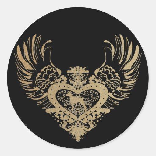 Doberman Pinscher Winged Heart Round Stickers