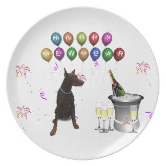 Doberman Pinscher wishing Happy New Year 2016 Dinner Plate