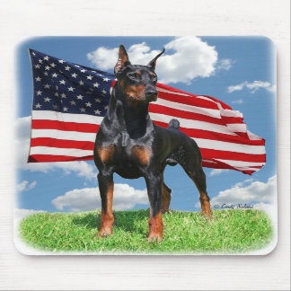 Doberman Pinscher with flag mousepad