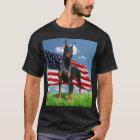 Doberman Pinscher with Flag t-shirt