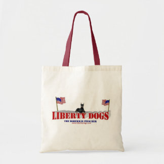 Doberman Pinscher with Flags Tote Bag