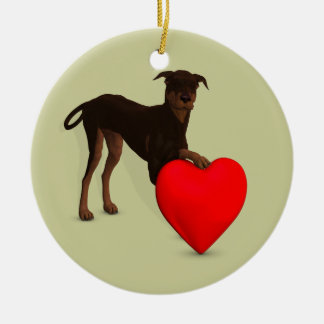 Doberman Pinscher With Heart Ceramic Ornament