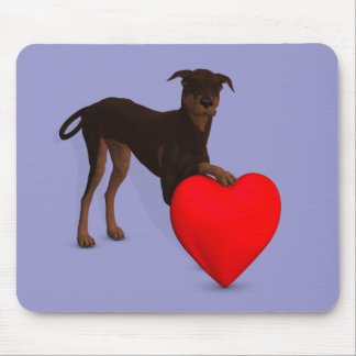 Doberman Pinscher With Heart Mouse Pad