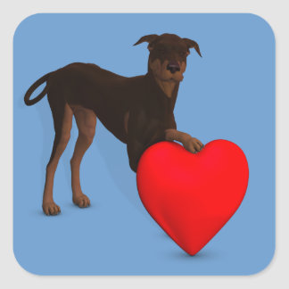Doberman Pinscher With Heart Square Sticker