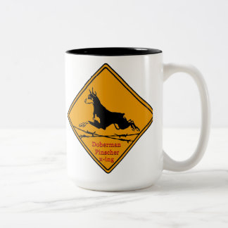 Doberman Pinscher X-ing Two-Tone Coffee Mug