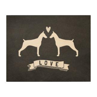 Doberman Pinschers Love - Dog Silhouettes w/ Heart Wood Wall Art