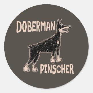 Doberman Primitive Classic Round Sticker