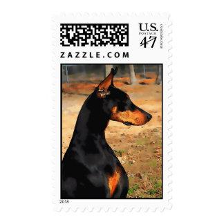 Doberman Profile Postage Stamp (v 9-3)