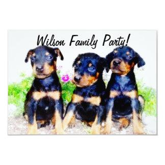 Doberman Puppies 3.5x5 Paper Invitation Card