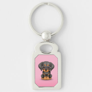 Doberman Puppy Dog with Reading Glasses, pink Silver-Colored Rectangular Metal Keychain