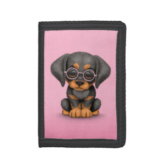 Doberman Puppy Dog with Reading Glasses, pink Tri-fold Wallet