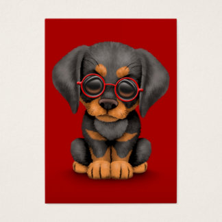 Doberman Puppy Dog with Reading Glasses, red Business Card