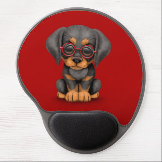 Doberman Puppy Dog with Reading Glasses, red Gel Mouse Pad