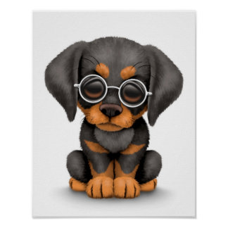 Doberman Puppy Dog with Reading Glasses, white Poster