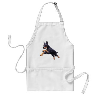 Doberman Puppy Leaping Adult Apron
