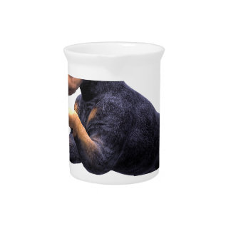 Doberman Puppy Leaping Drink Pitchers
