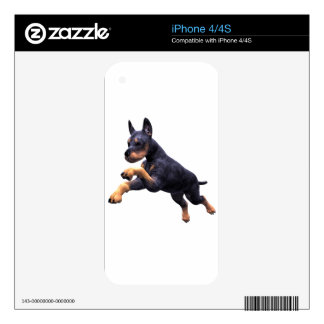Doberman Puppy Leaping Skins For The iPhone 4