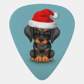 Doberman Puppy Wearing a Santa Hat Blue Guitar Pick