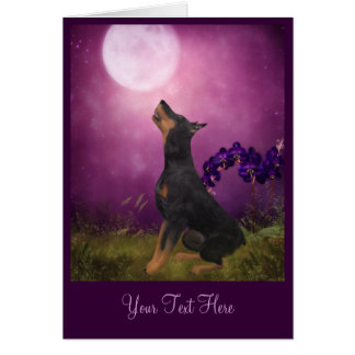 Doberman Purple Moon Fantasy Dog Art Photo Card
