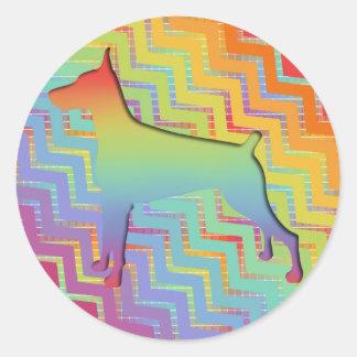 Doberman Rainbow gifts Classic Round Sticker