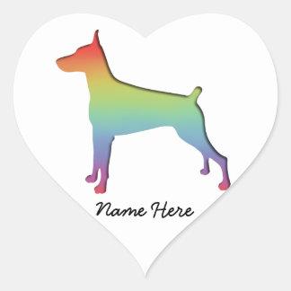 Doberman Rainbow gifts Heart Sticker