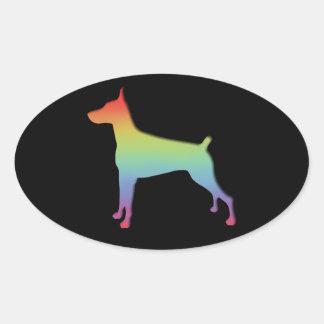 Doberman Rainbow gifts Oval Sticker