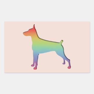 Doberman Rainbow Rectangular Sticker