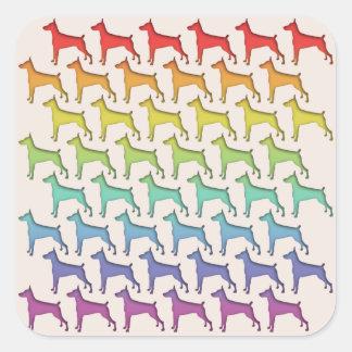 Doberman Rainbow Square Sticker