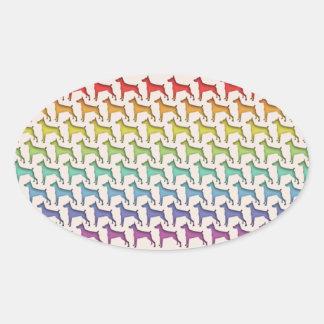 Doberman Rainbow Oval Sticker
