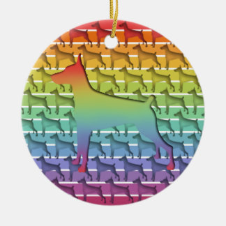 Doberman Rainbow stripe gifts Ceramic Ornament