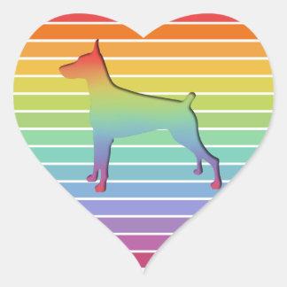 Doberman Rainbow stripe gifts Heart Sticker