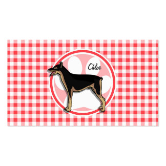 Doberman; Red and White Gingham Business Card Templates