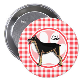 Doberman; Red and White Gingham Button