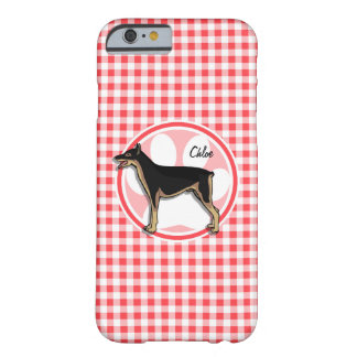 Doberman; Red and White Gingham Barely There iPhone 6 Case