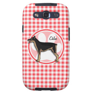 Doberman; Red and White Gingham Samsung Galaxy S3 Cases