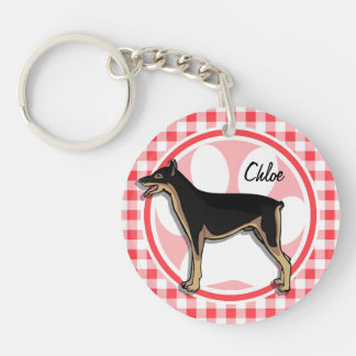 Doberman; Red and White Gingham Double-Sided Round Acrylic Keychain