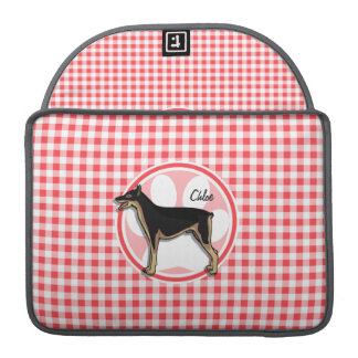 Doberman; Red and White Gingham Sleeves For MacBooks
