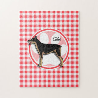 Doberman; Red and White Gingham Puzzles