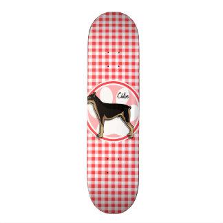 Doberman; Red and White Gingham Skateboard