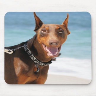 Doberman - Red - Bad to the Bone Mouse Pads