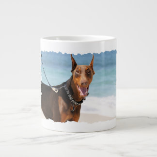 Doberman - Red - Sand in My Eyes Large Coffee Mug