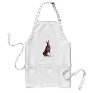 Doberman (red sit) adult apron