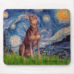Doberman (red) - Starry Night Mouse Pad