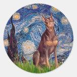 Doberman (red) - Starry Night Sticker