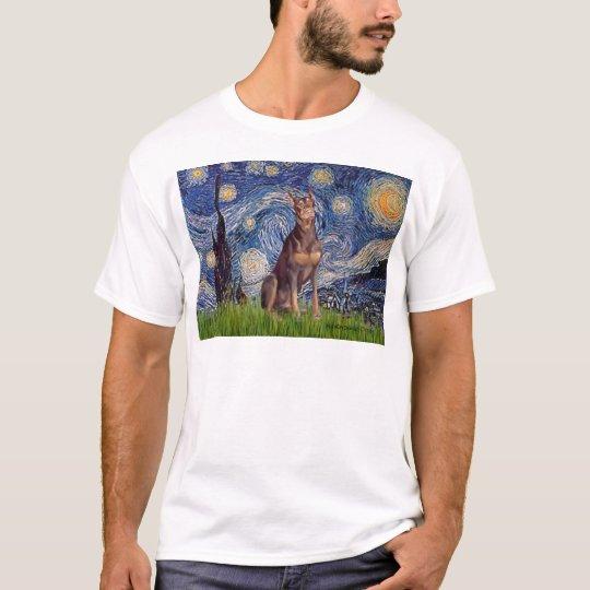 Doberman (red) - Starry Night T-Shirt