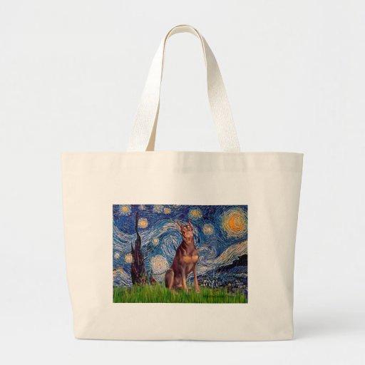 Doberman (red) - Starry Night Tote Bags