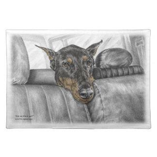 Doberman Riding in Car Cloth Placemat
