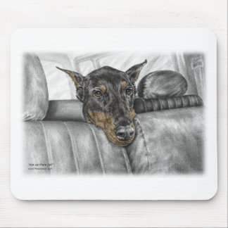 Doberman Riding in Car Mouse Pad