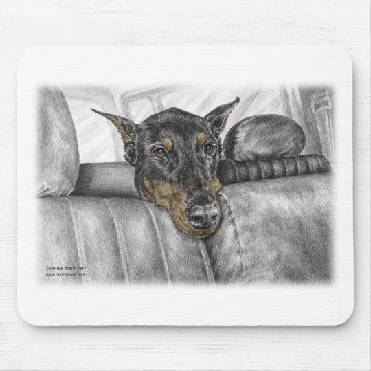 Doberman Riding in Car Mouse Pad